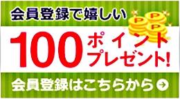 会員登録、登録で100ポイントプレゼント